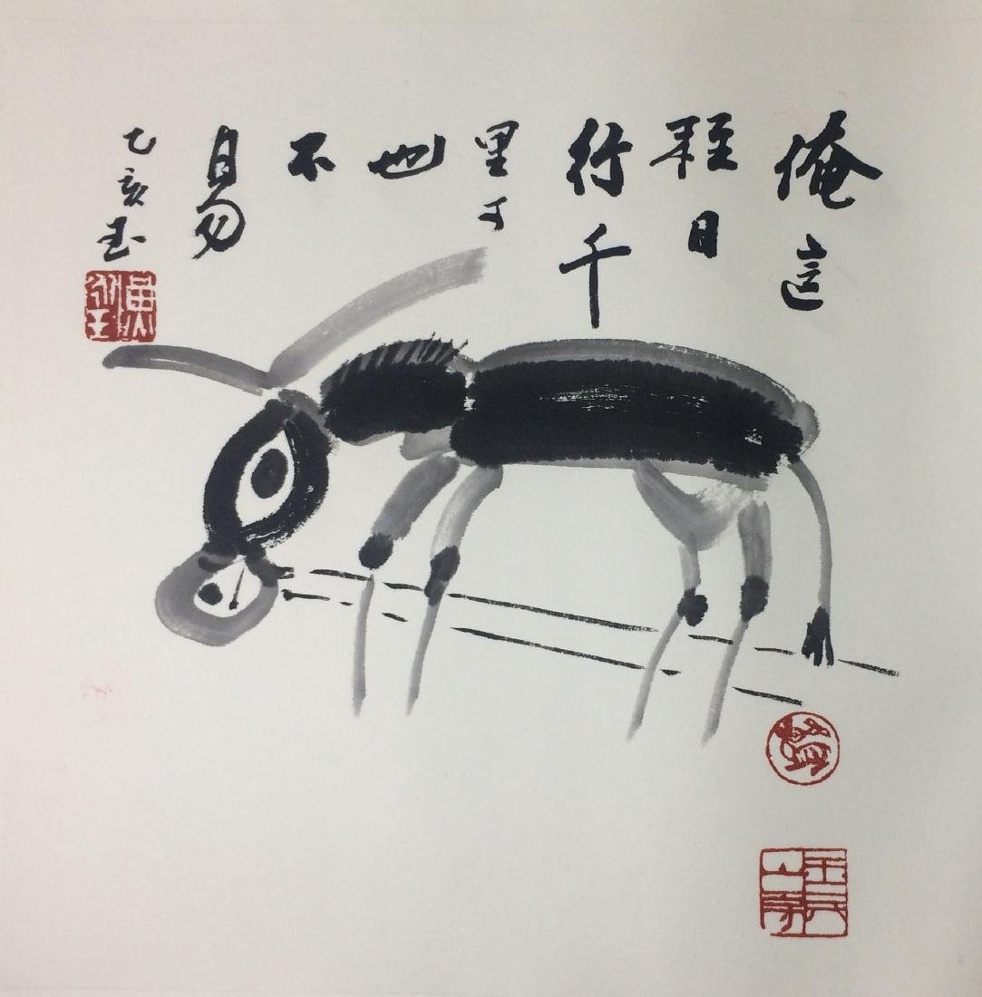 TWEELVE PAGES OF CHINESE ABLUM PAINTINGS OF ANIMALS AND - 11