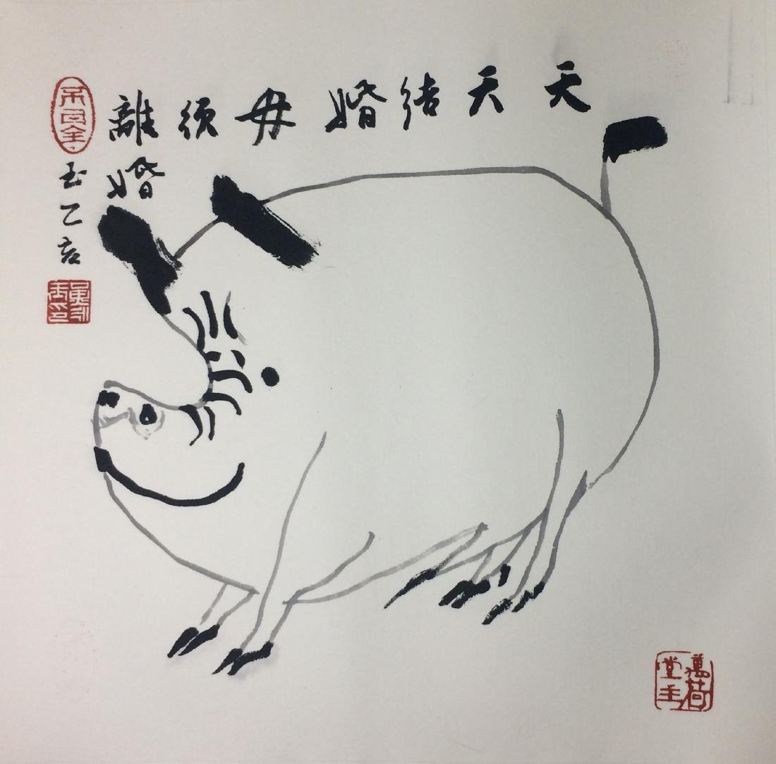 TWEELVE PAGES OF CHINESE ABLUM PAINTINGS OF ANIMALS AND - 9