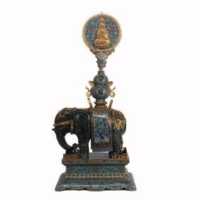 CHINESE CLOISONNE ELEPHANT WITH VASE AND PLAQUE