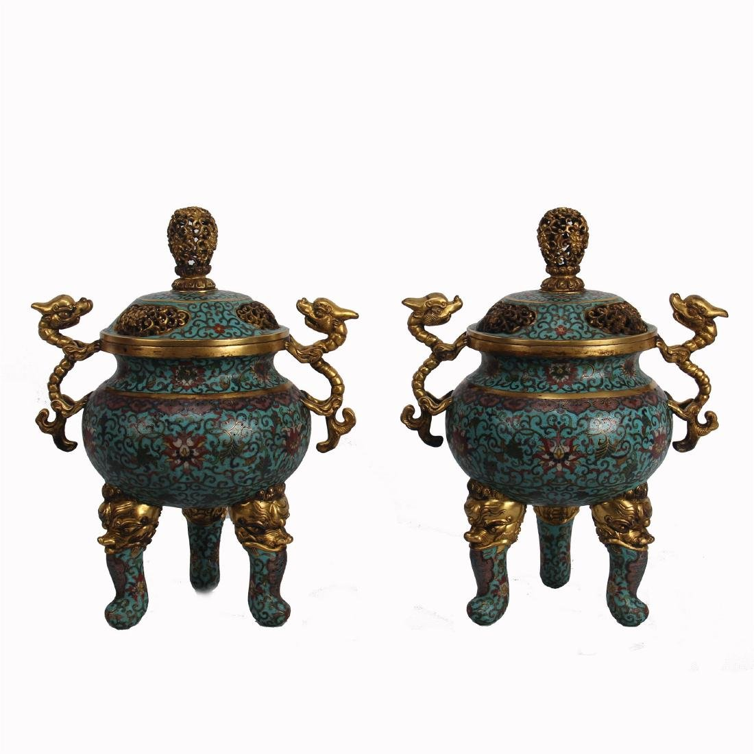 PAIR OF CHINESE CLOISONNE DRAGON HANDLE CENSER
