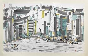 CHINESE SCROLL PAINTING OF CITY LANDSCAPE