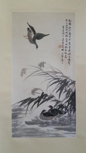 CHINESE SCROLL PAINTING OF GEESE