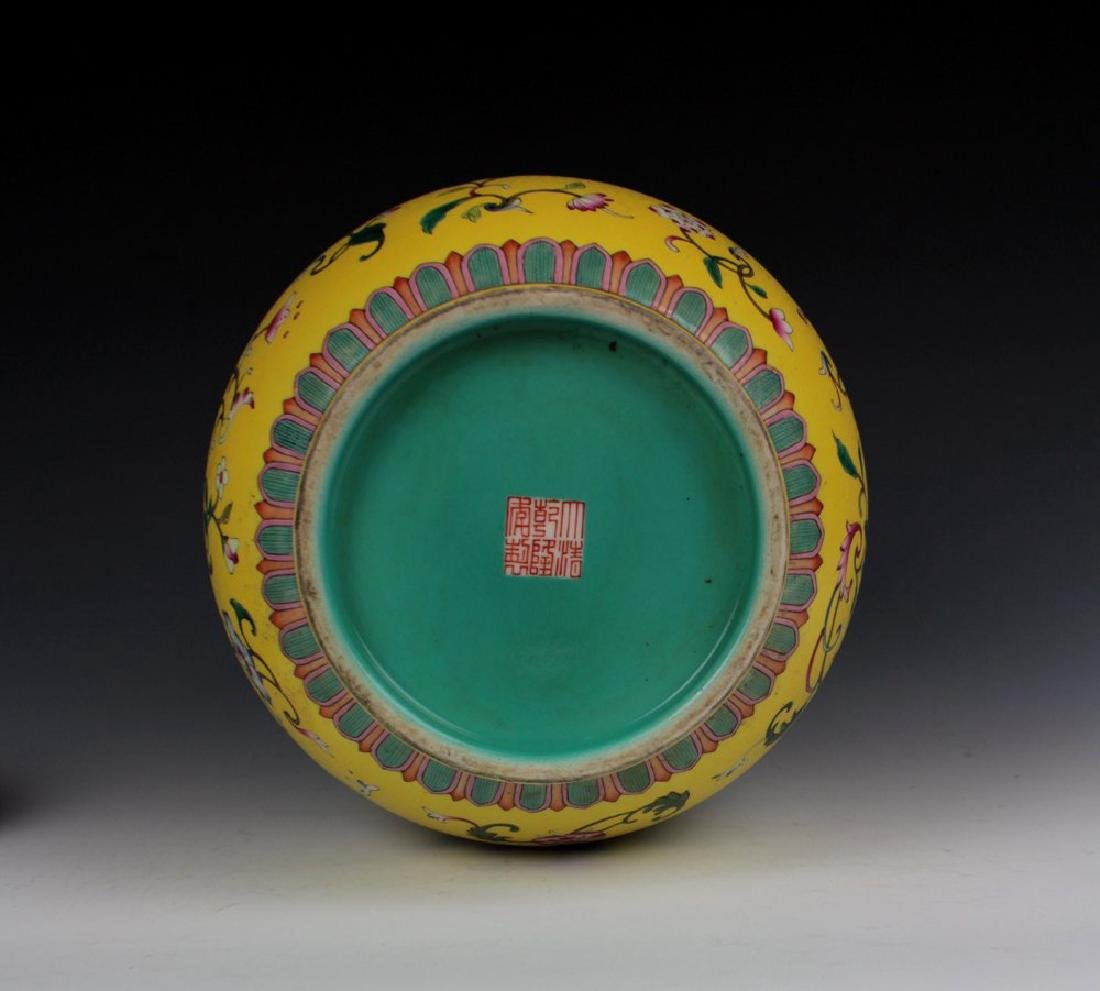CHINESE PORCELAIN YELLOW GROUND FAMILLE ROSE FLOWER - 5