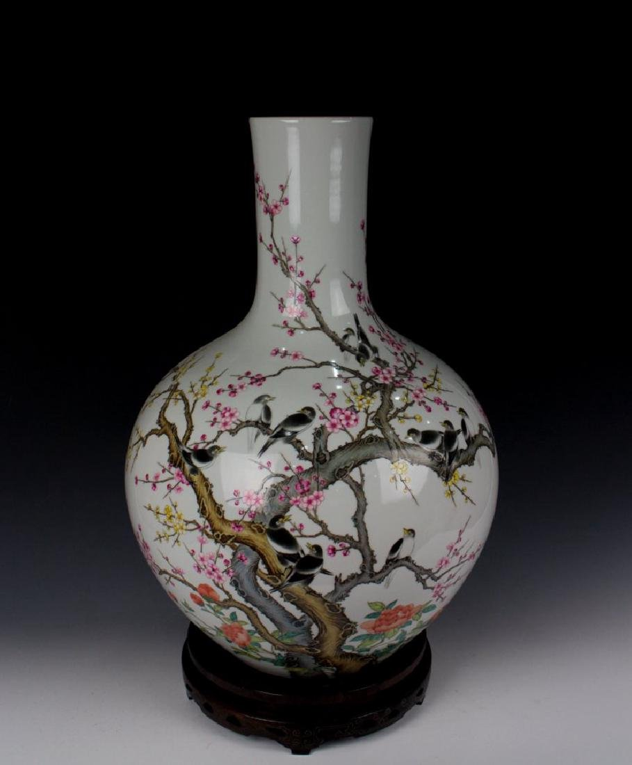 CHINESE PORCELAIN FAMILLE ROSE BIRD AND FLOWER TIANQIU