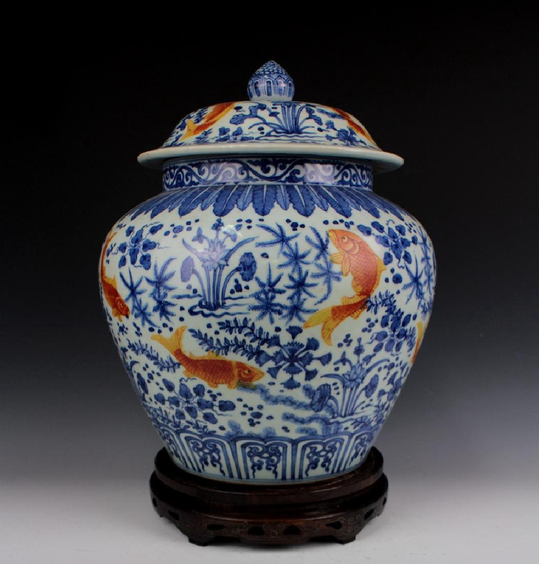 CHINESE PORCELAIN BLUE AND WHITE IRON RD FISH WEED