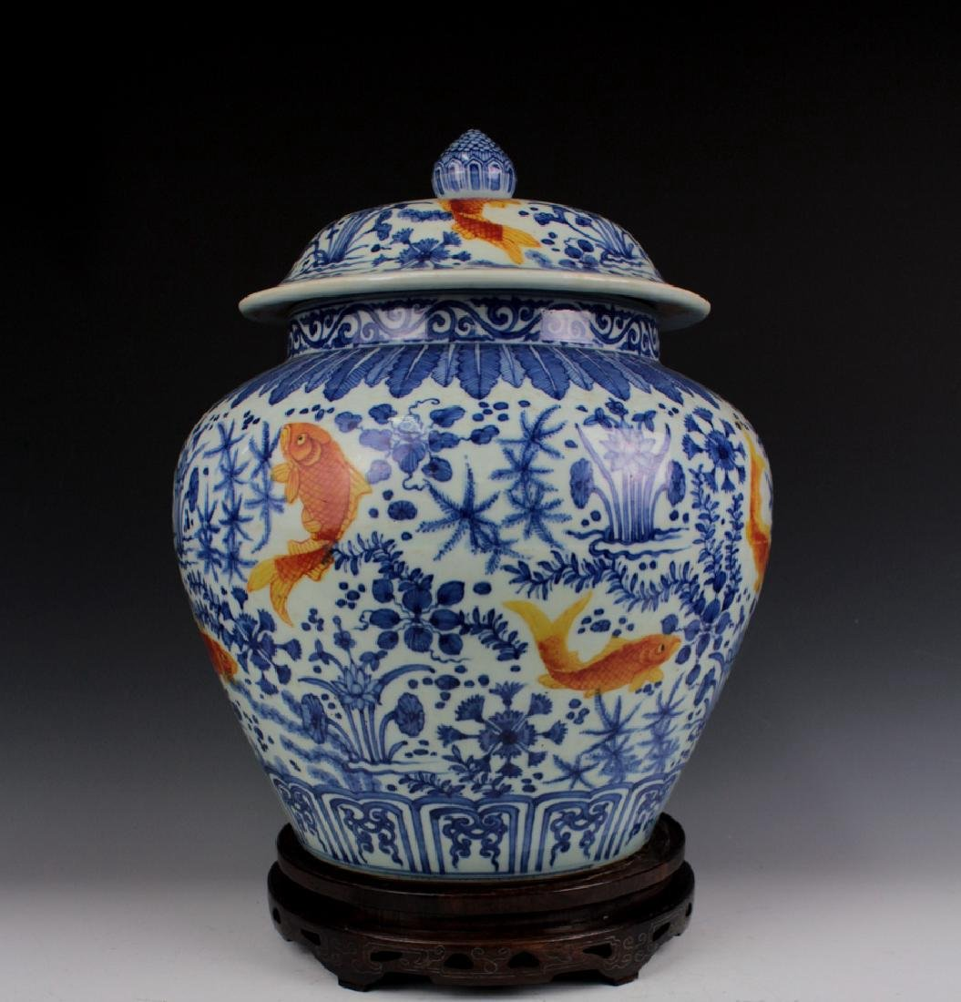 CHINESE PORCELAIN BLUE AND WHITE IRON RD FISH WEED - 2