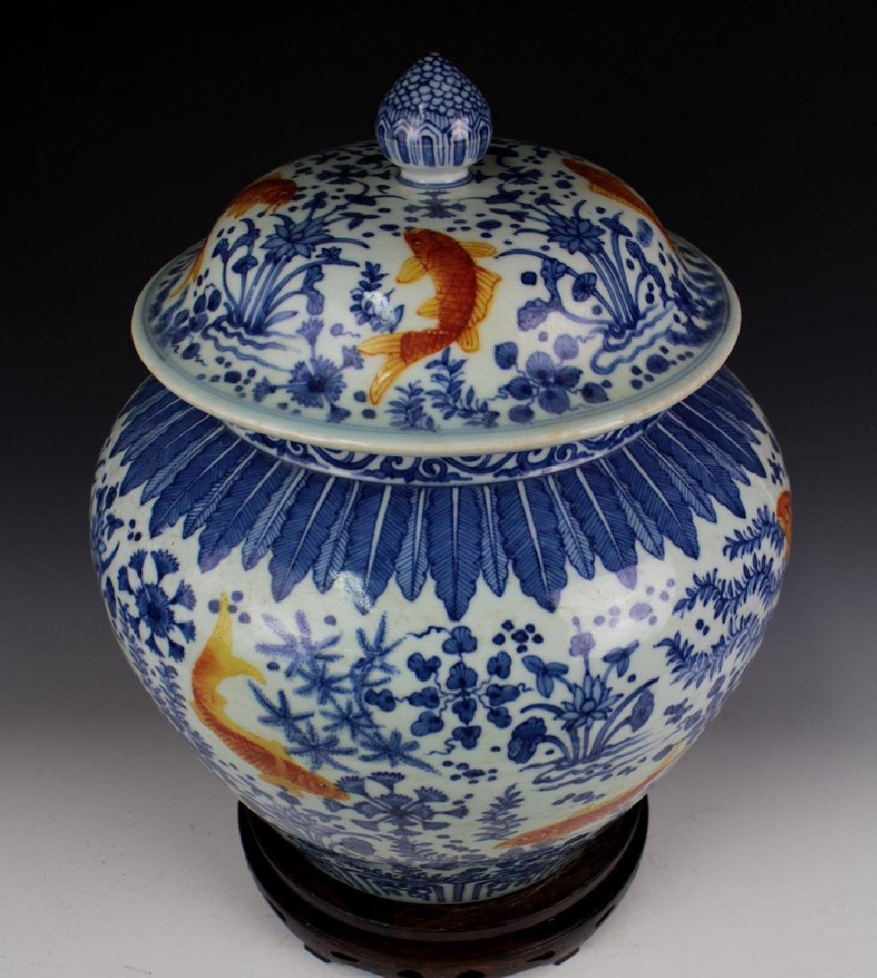 CHINESE PORCELAIN BLUE AND WHITE IRON RD FISH WEED - 4