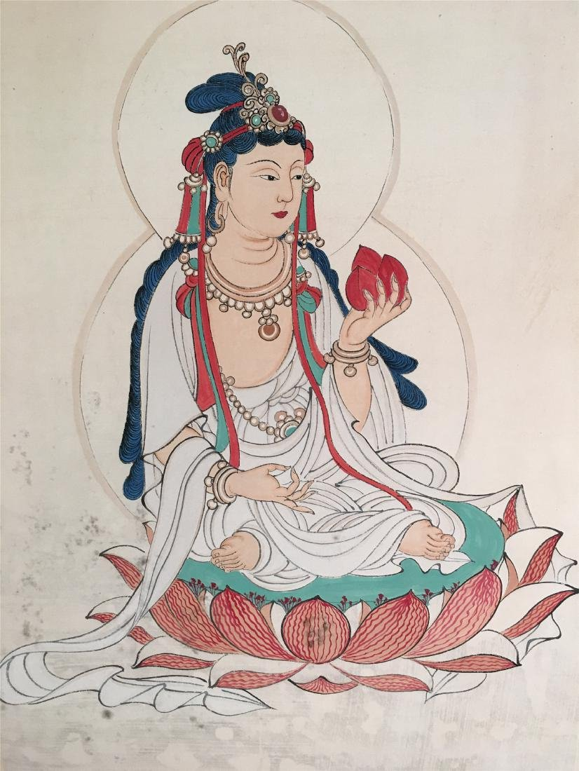 CHINESE SCROLL PAINTING OF SEATED GUANYIN - 2