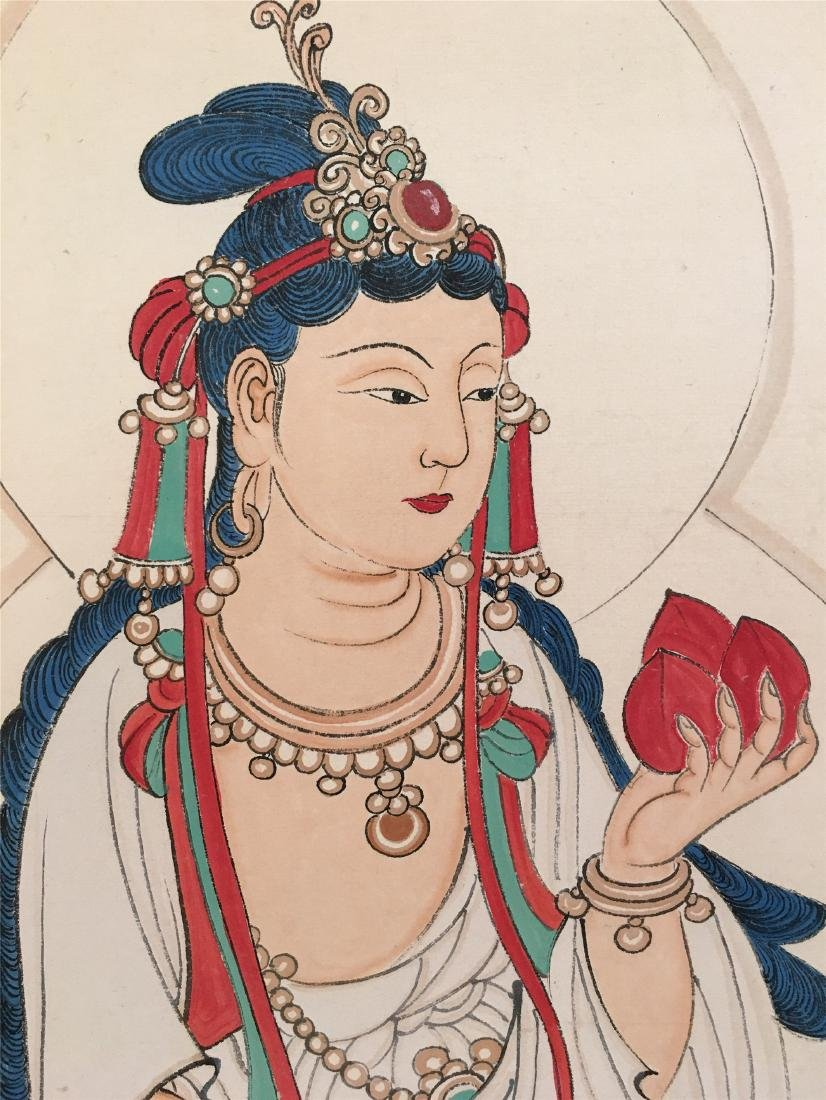 CHINESE SCROLL PAINTING OF SEATED GUANYIN - 3