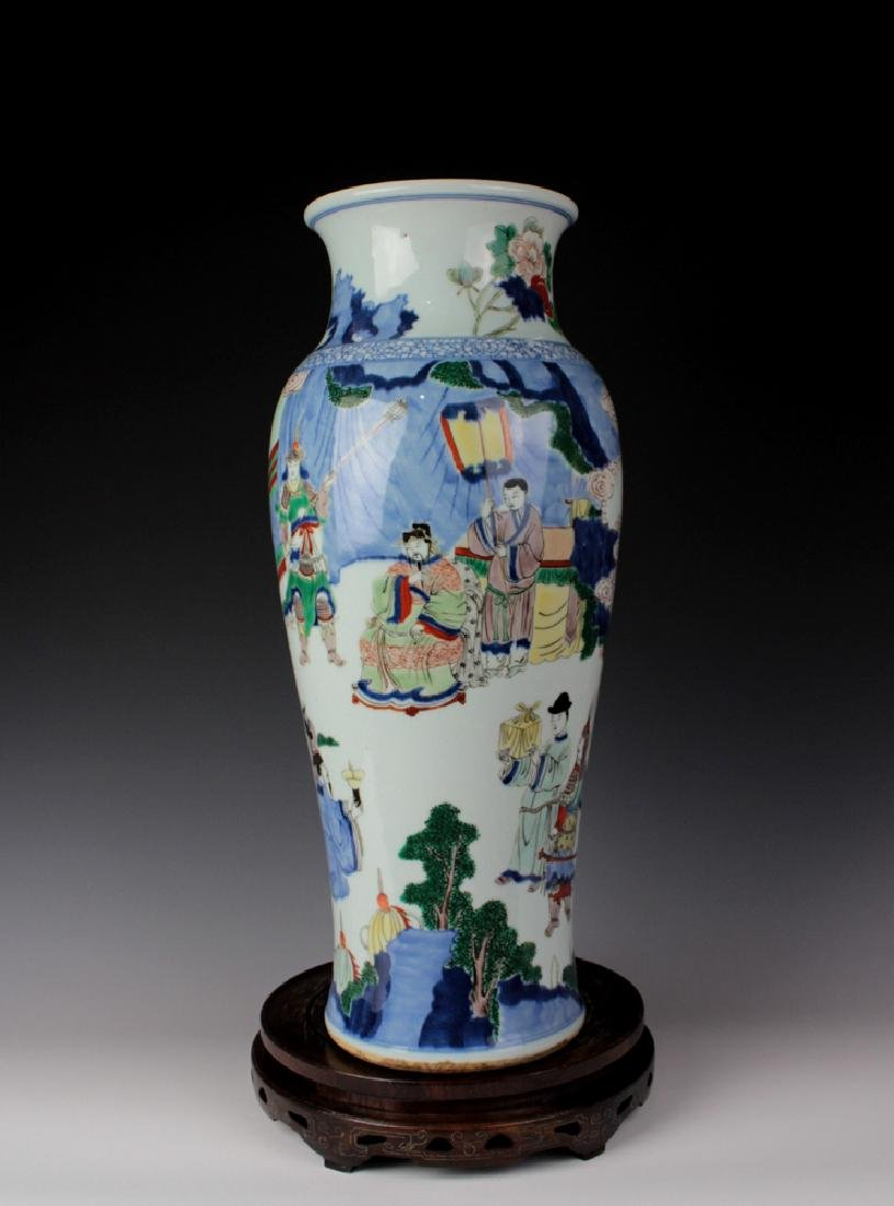 LARGE CHINESE PORCELAIN BLUE AND WHITE WUCAI FIGURES