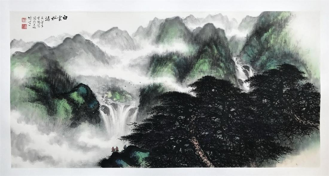 LARGE CHINESE SCROLL PAINTING OF MOUNTAIN VIEWS