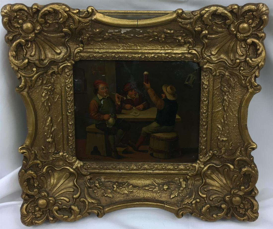 OIL PAINTING OF THREE MEN ON METAL PLAQUE SIGNED