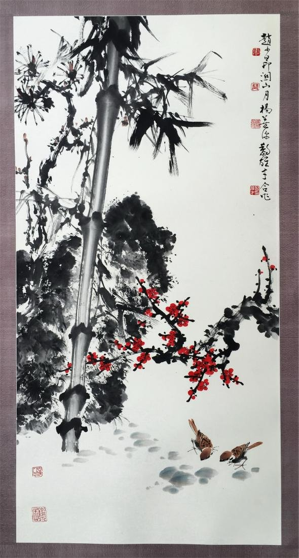 LARGE CHINESE SCROLL PAINTING OF SPARROW AND BAMBOO