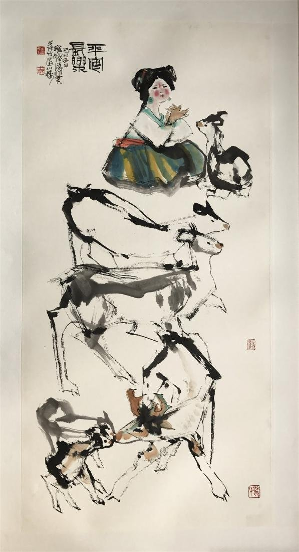 CHINESE SCROLL PAINTING OF GIRL AND SHEEP