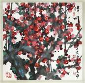 CHINESE SCROLL PAINTING OF PLUM BLOSSMING