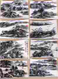 EIGHT PAGES OF CHINESE ABLUM PAINTING OF MOUNTAIN VIEWS