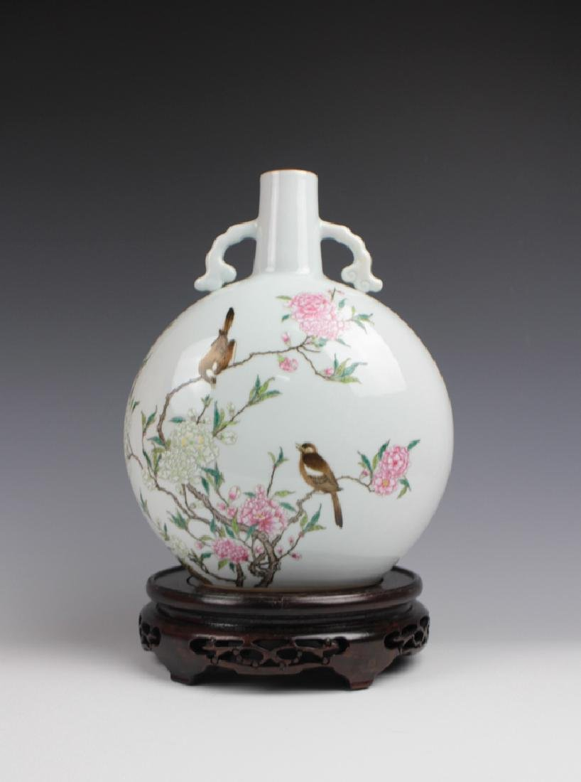 CHINESE PORCELAIN FAMILLE ROSE BIRD AND FLOWER
