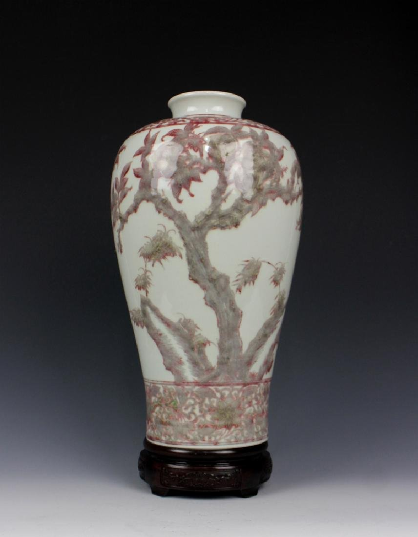 CHINESE PORCELAIN RED UNDER GLAZE FLOWER MEIPING VASE