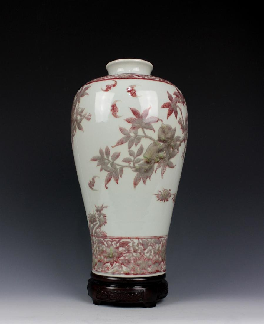 CHINESE PORCELAIN RED UNDER GLAZE FLOWER MEIPING VASE - 2