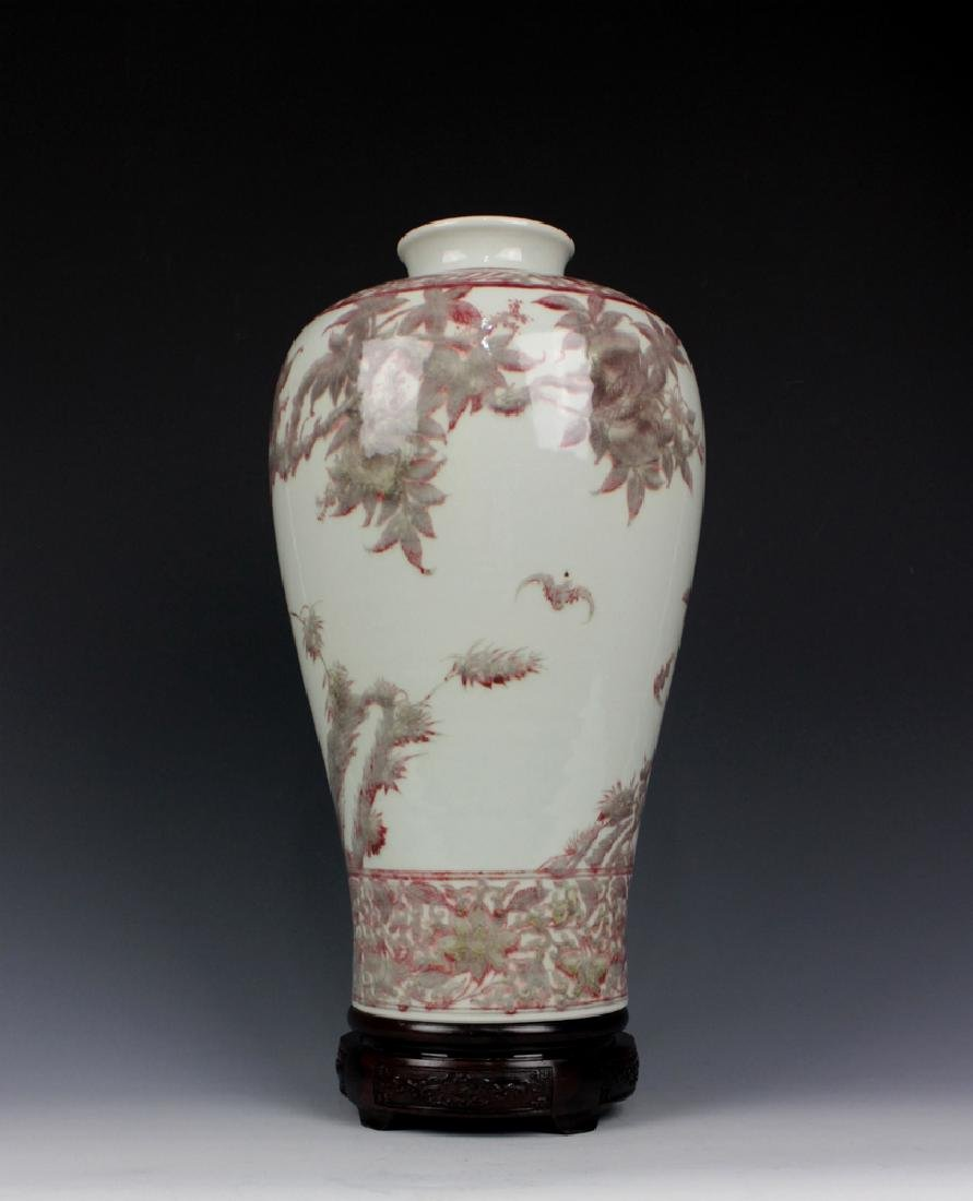 CHINESE PORCELAIN RED UNDER GLAZE FLOWER MEIPING VASE - 3