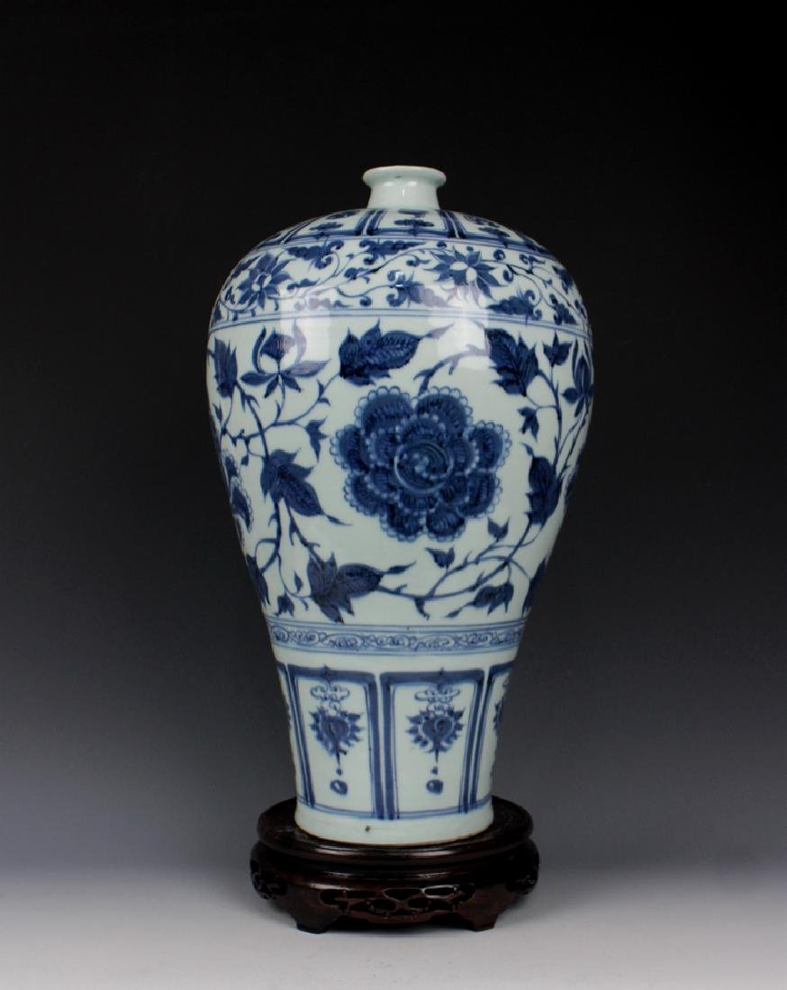 CHINESE PORCELAIN BLUE AND WHITE FLOWER MEIPING VASE