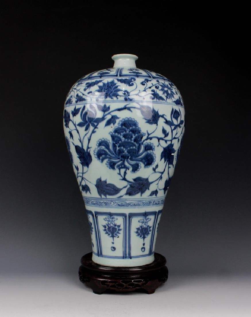 CHINESE PORCELAIN BLUE AND WHITE FLOWER MEIPING VASE - 2