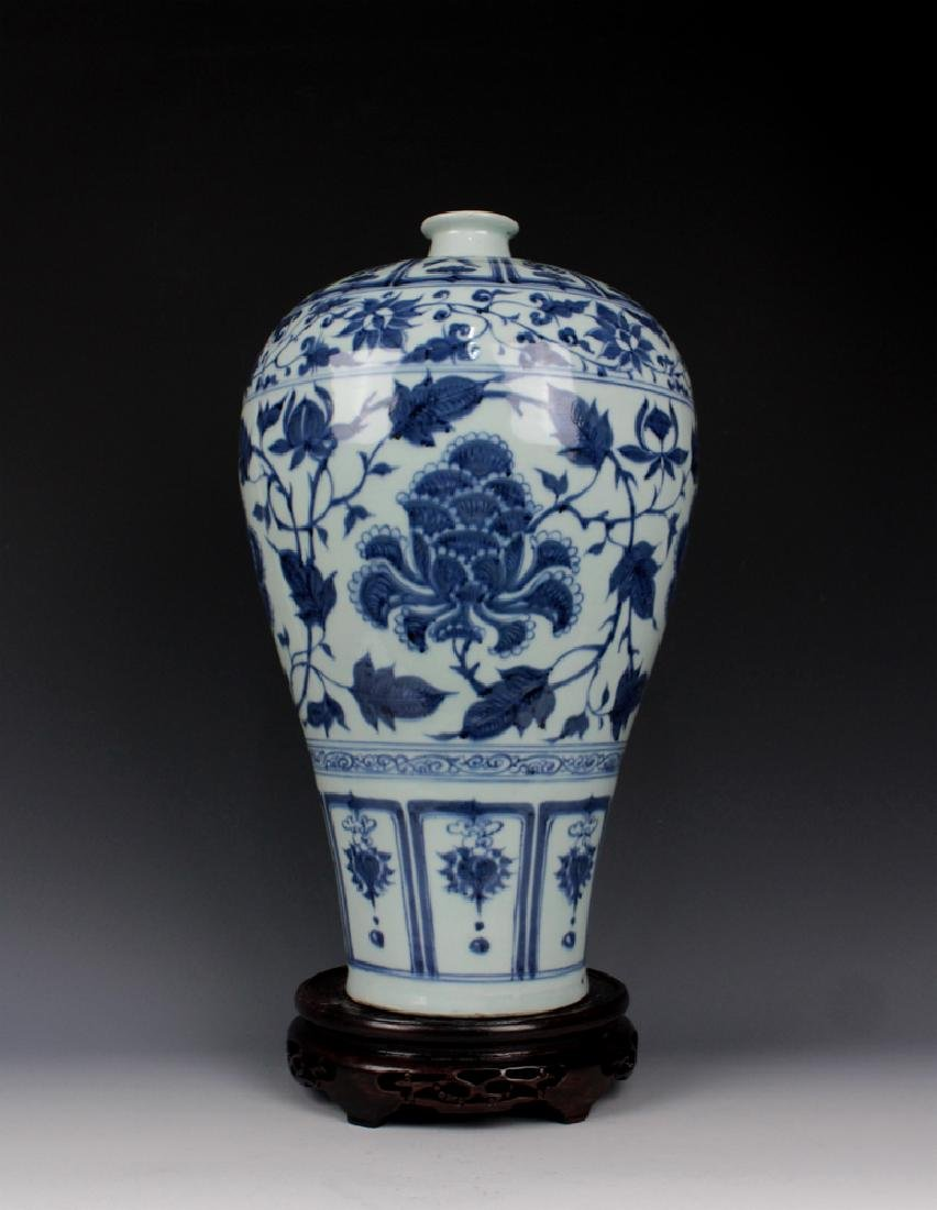 CHINESE PORCELAIN BLUE AND WHITE FLOWER MEIPING VASE - 3