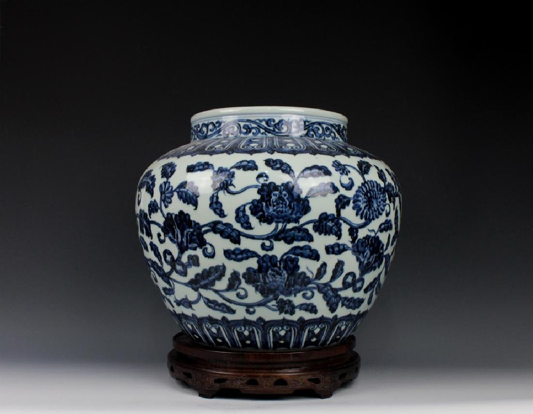 CHINESE PORCELAIN BLUE AND WHITE FLOWER JAR - 2