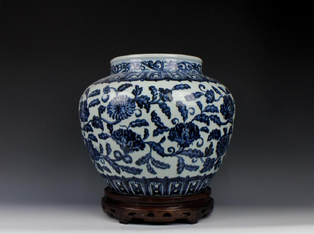 CHINESE PORCELAIN BLUE AND WHITE FLOWER JAR - 3