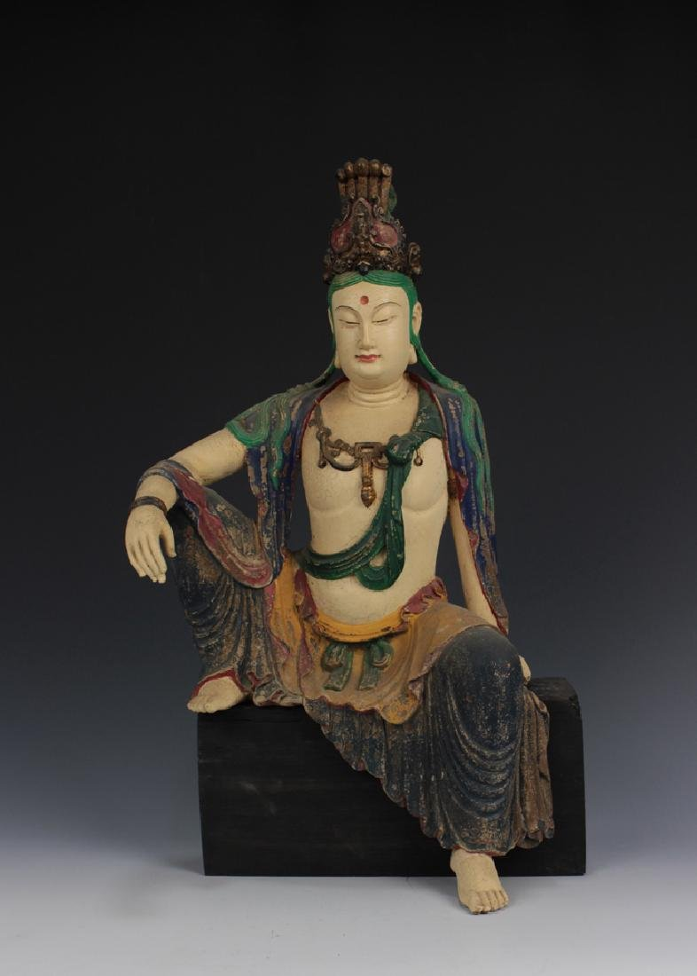 CHINESE COLOR DECORATED EAGLEWOOD CRAVED SEATED GUANYIN