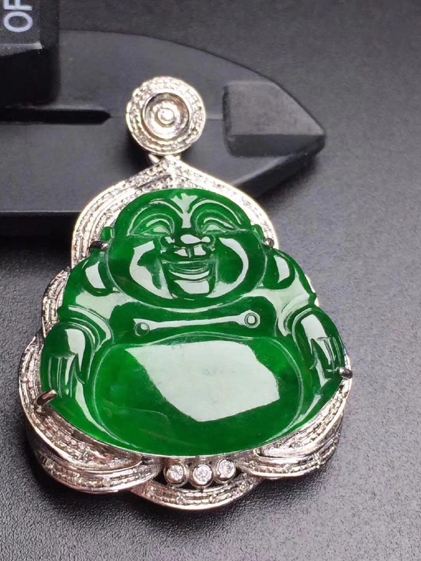 GIA GUARANTEED 18K GOLD DIAMOND NATURAL JADEITE BUDDHA