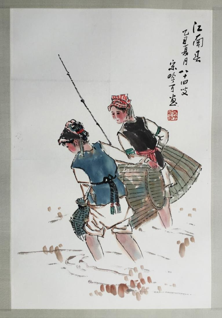 CHINESE SCROLL PAINTING OF GIRLS