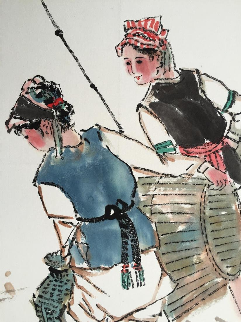 CHINESE SCROLL PAINTING OF GIRLS - 3