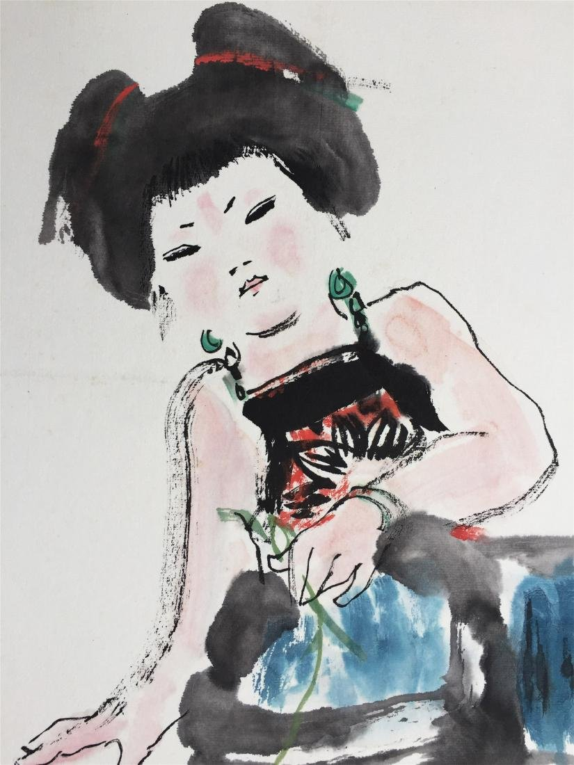 CHINESE SCROLL PAINTING OF GIRL AND FISH - 2
