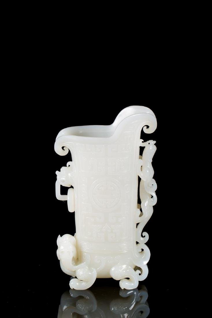 CHINESE NEPHRITE JADE DRAGON JUE CUP