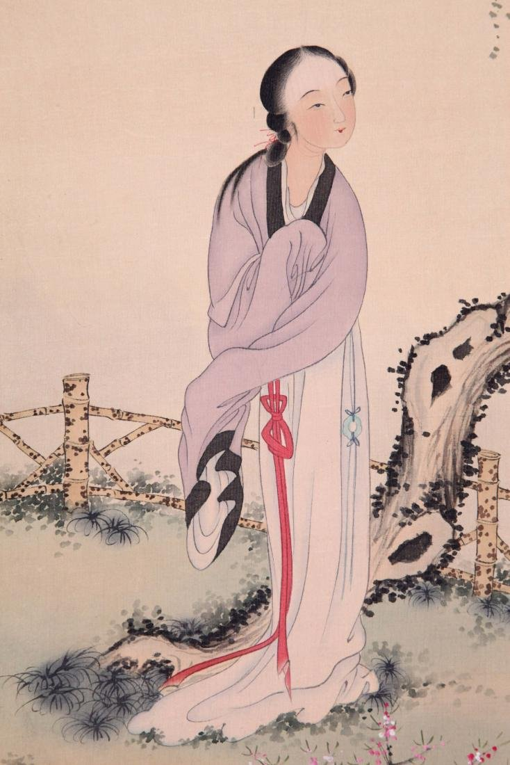 CHINESE SCROLL PAINTING OF BEAUTY UNDER WILLOW - 2
