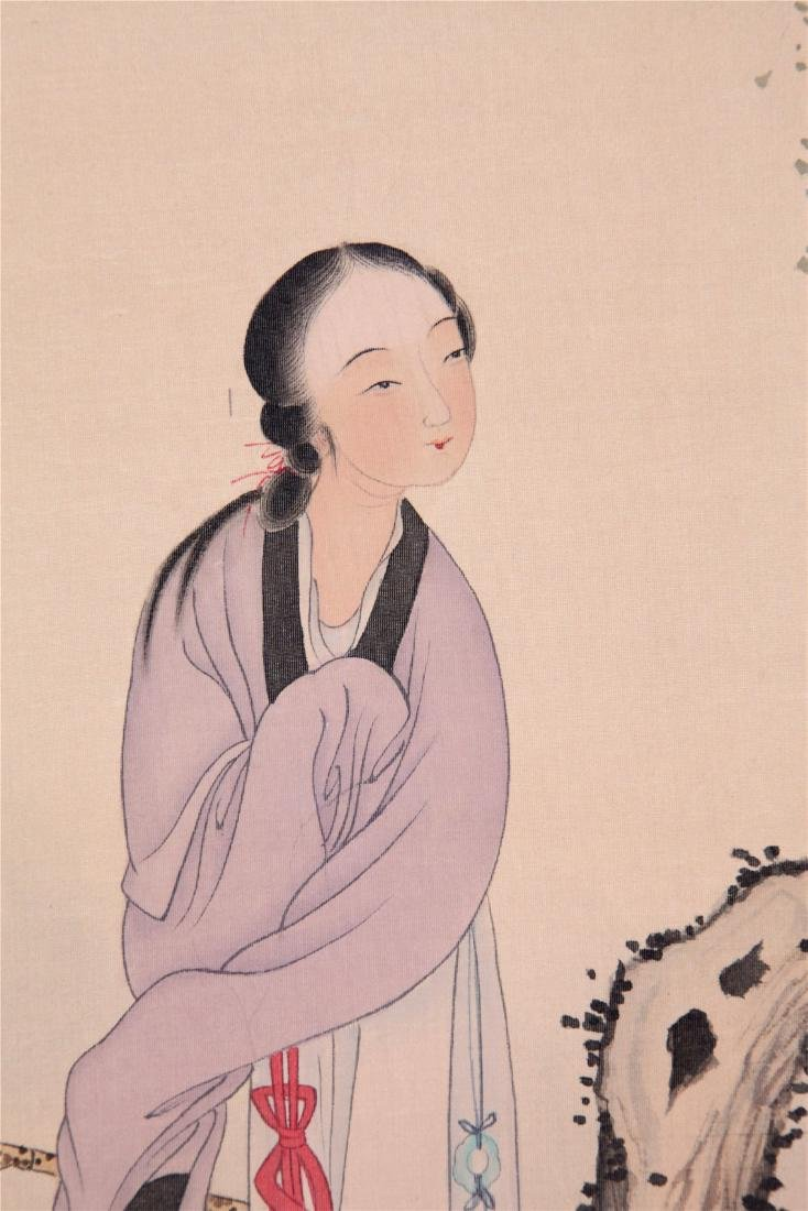 CHINESE SCROLL PAINTING OF BEAUTY UNDER WILLOW - 3