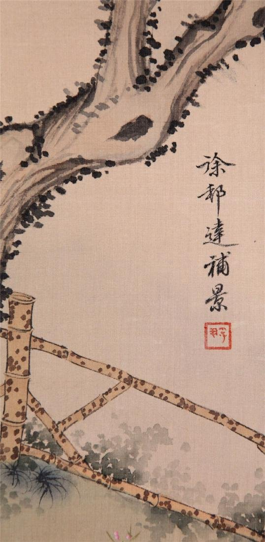 CHINESE SCROLL PAINTING OF BEAUTY UNDER WILLOW - 5