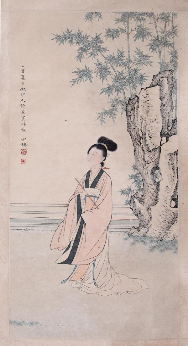 CHINESE SCROLL PAINTING OF BEAUTY IN GARDEN