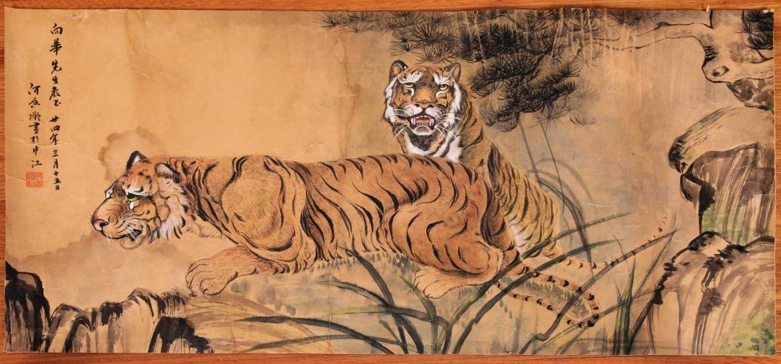 CHINESE SCROLL PAINTING OF TIGERS
