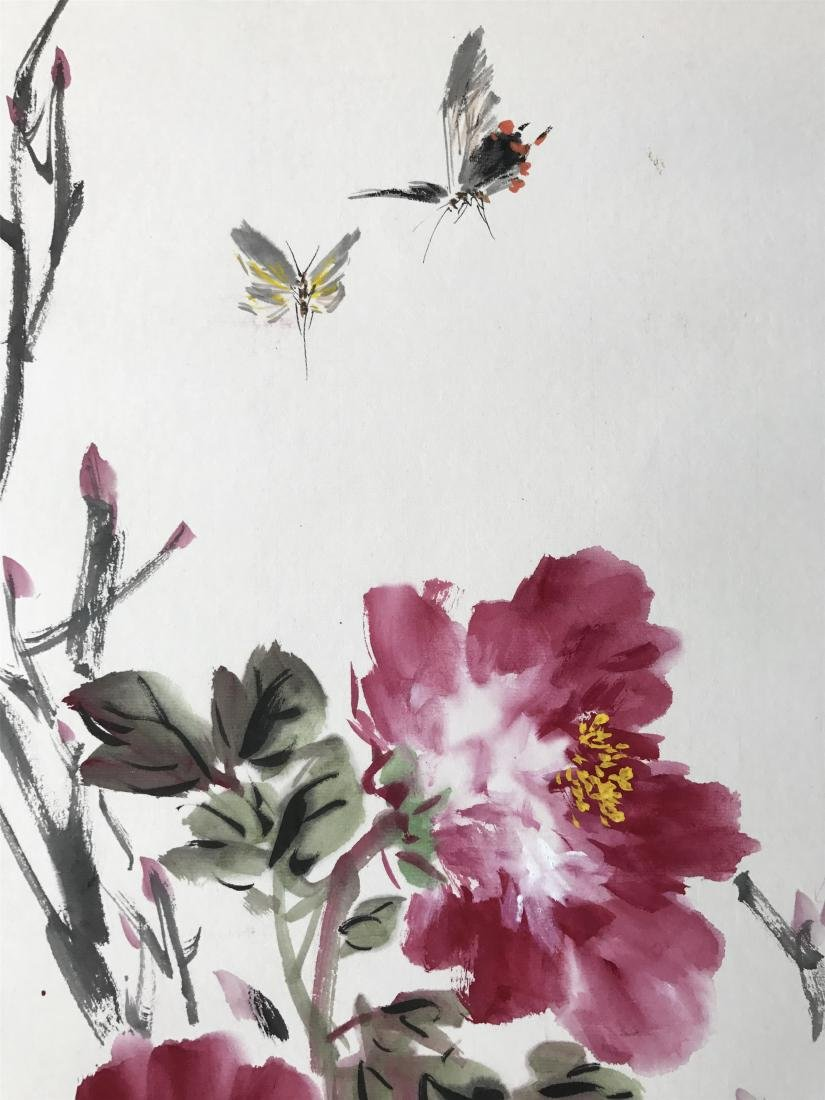 CHINESE SCROLL PAINTING OF BUTTERFLY AND FLOWER - 3