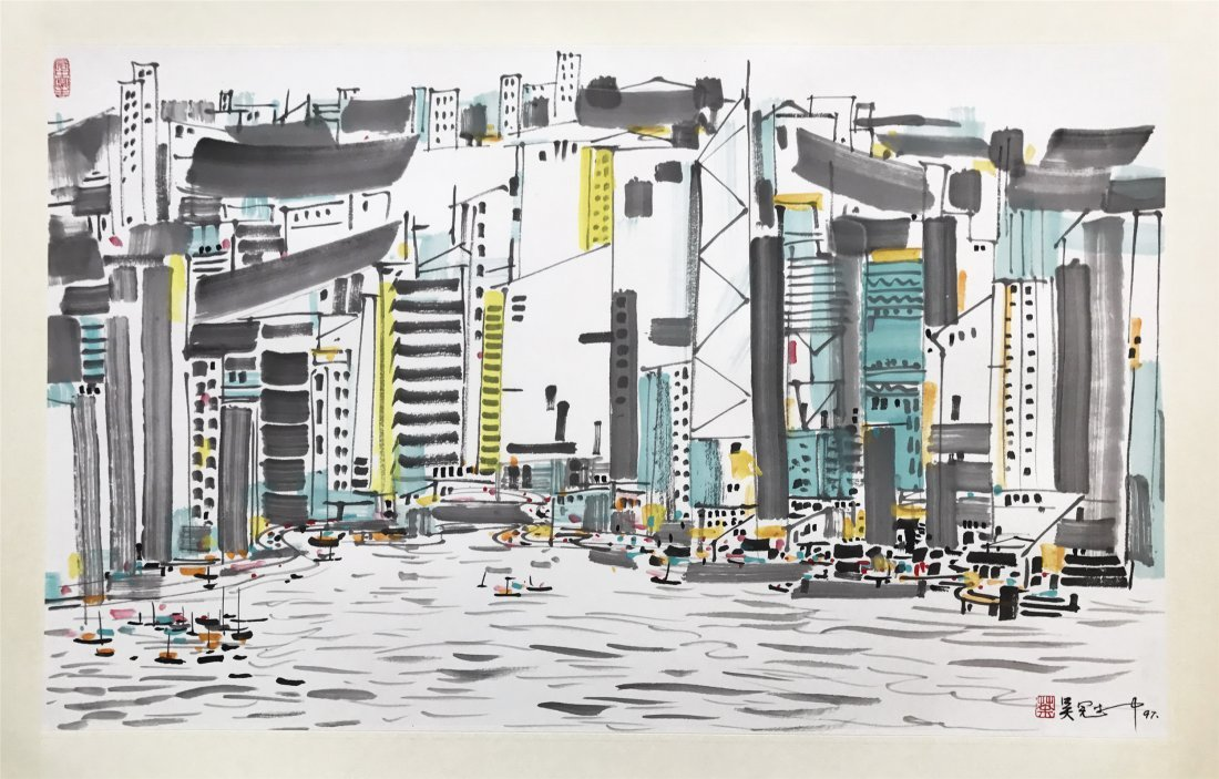 CHINESE SCROLL PAINTING OF CITY VIEWS