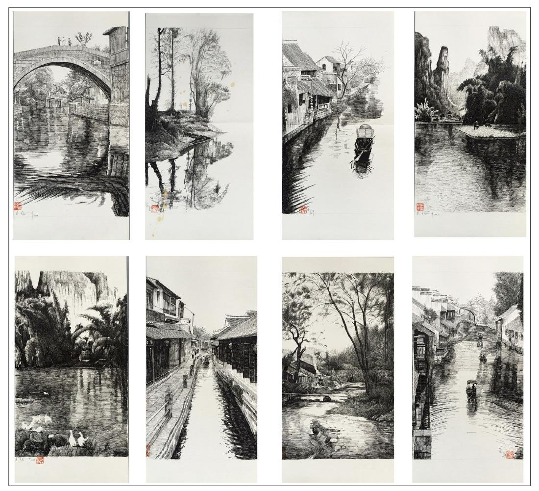 EIGHT PAGES OF CHINESE ALBUM PAINTING OF RIVERVIEWS