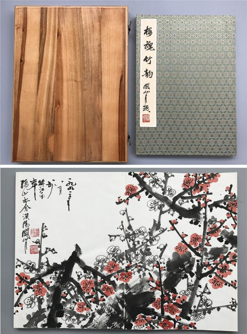 TEN PAGES OF CHINESE ALBUM PAINTING OF PLUM BLOSSOMMING
