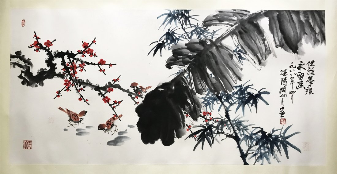 CHINESE SCROLL PAINTING OF SPARROW AND LEAF