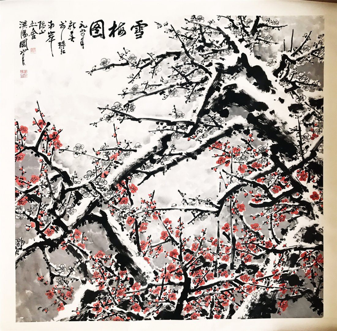 CHINESE SCROLL PAINTING OF PLUM WITH SNOW