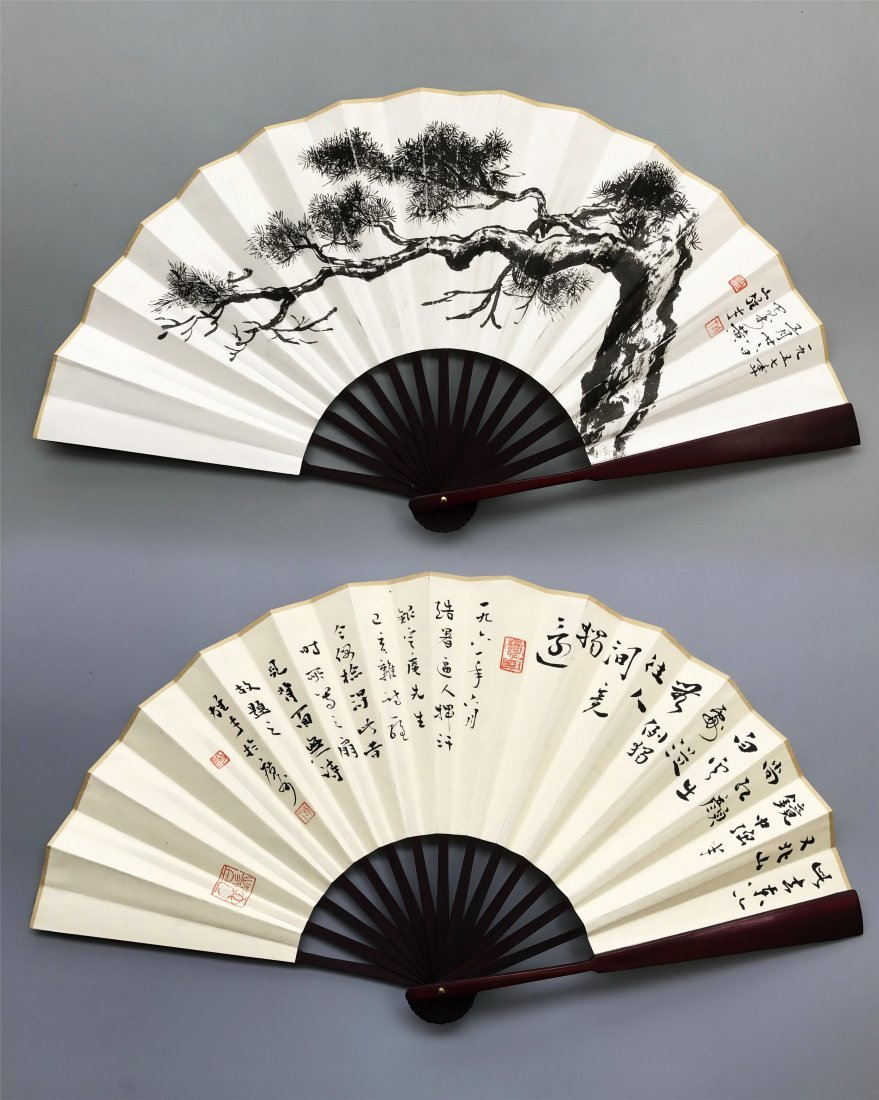 CHINESE FAN PAINTING OF PINE AND CALLIGRAPHY