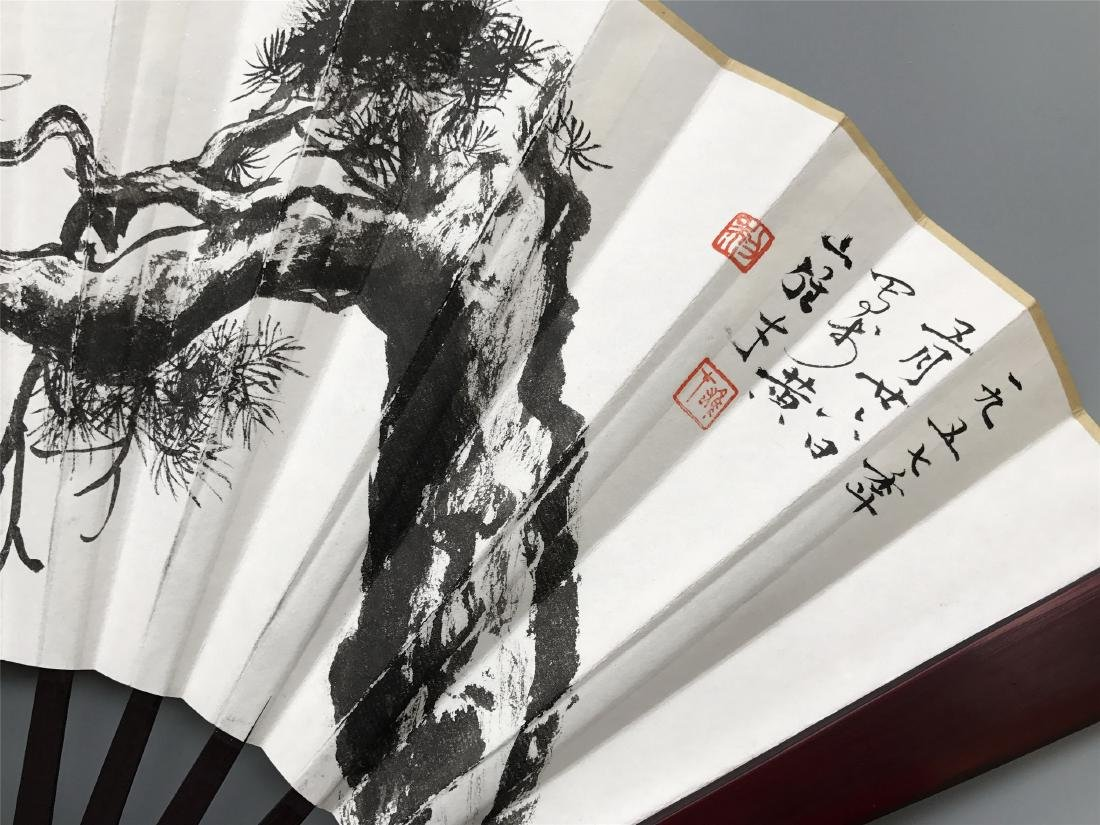 CHINESE FAN PAINTING OF PINE AND CALLIGRAPHY - 2