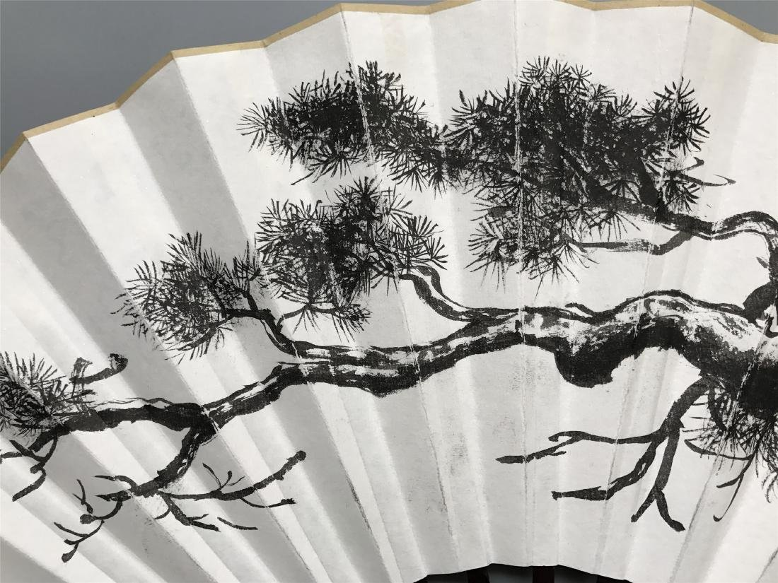 CHINESE FAN PAINTING OF PINE AND CALLIGRAPHY - 3