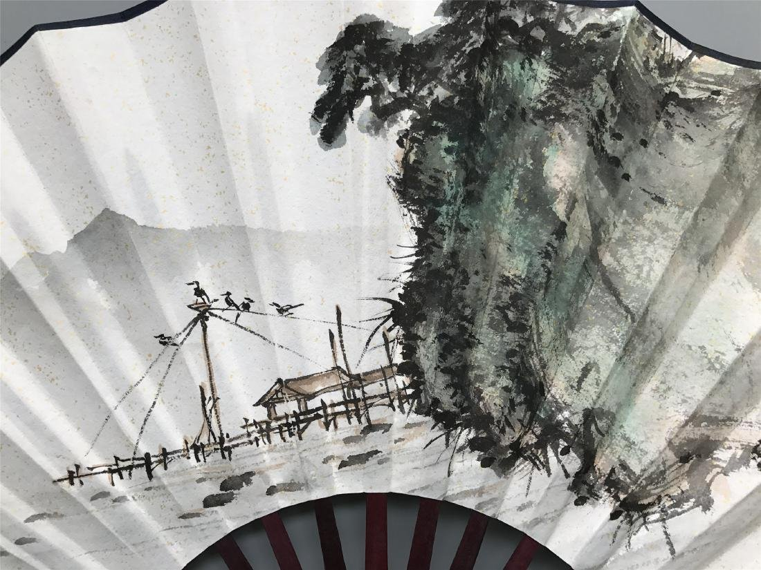 CHINESE FAN PAINTING OF LAKEVIEWS - 3
